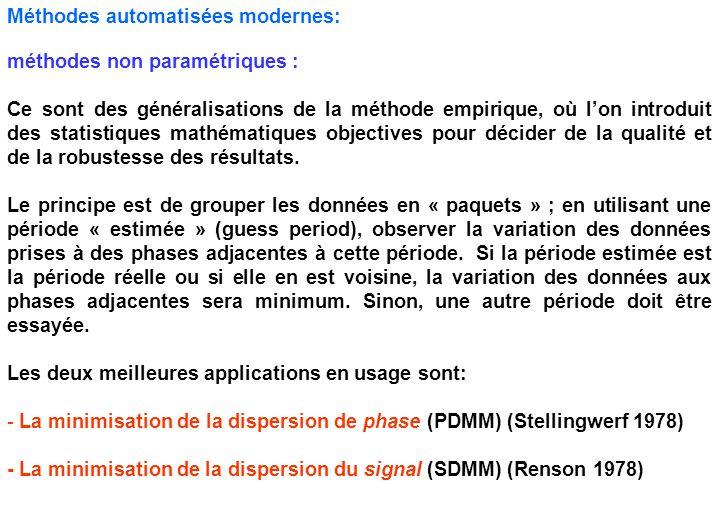 Méthodes automatisées modernes: méthodes non paramétriques : Ce sont des généralisations de la méthode empirique, où l'on introduit des statistiques m