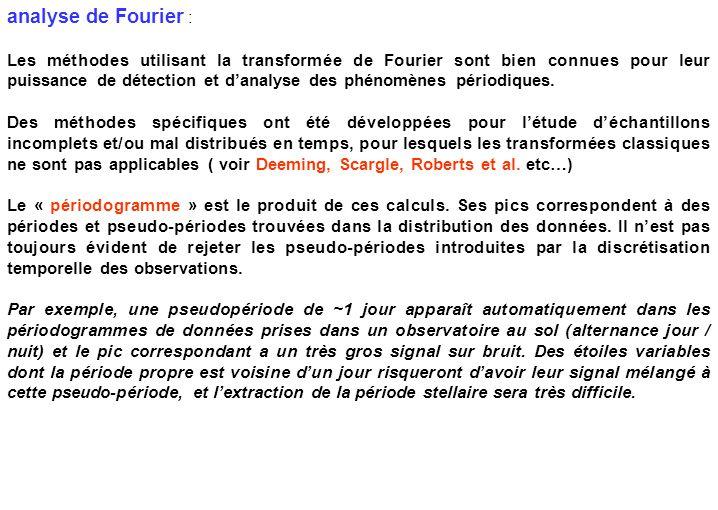 analyse de Fourier : Les méthodes utilisant la transformée de Fourier sont bien connues pour leur puissance de détection et d'analyse des phénomènes p