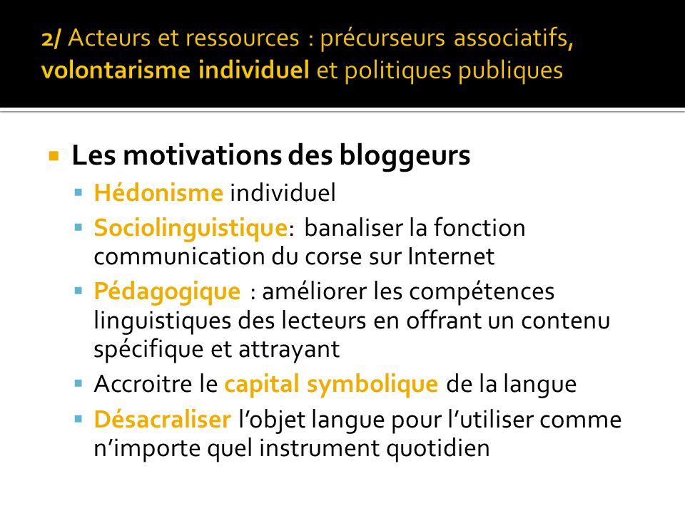  Les motivations des bloggeurs  Hédonisme individuel  Sociolinguistique: banaliser la fonction communication du corse sur Internet  Pédagogique :