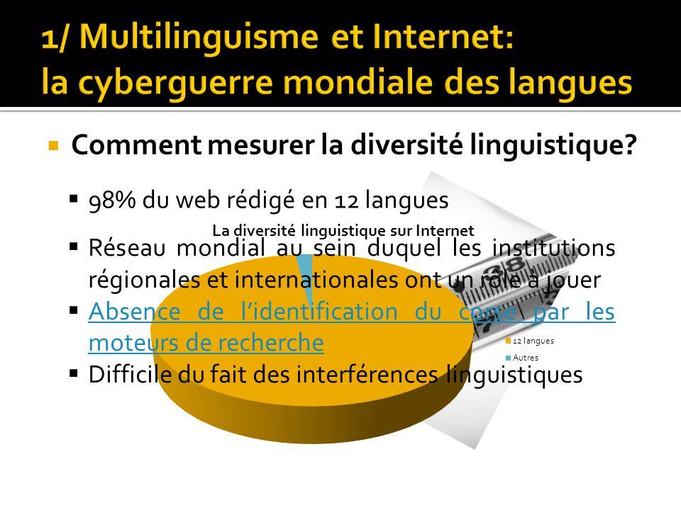  Comment mesurer la diversité linguistique?  98% du web rédigé en 12 langues  Réseau mondial au sein duquel les institutions régionales et internat