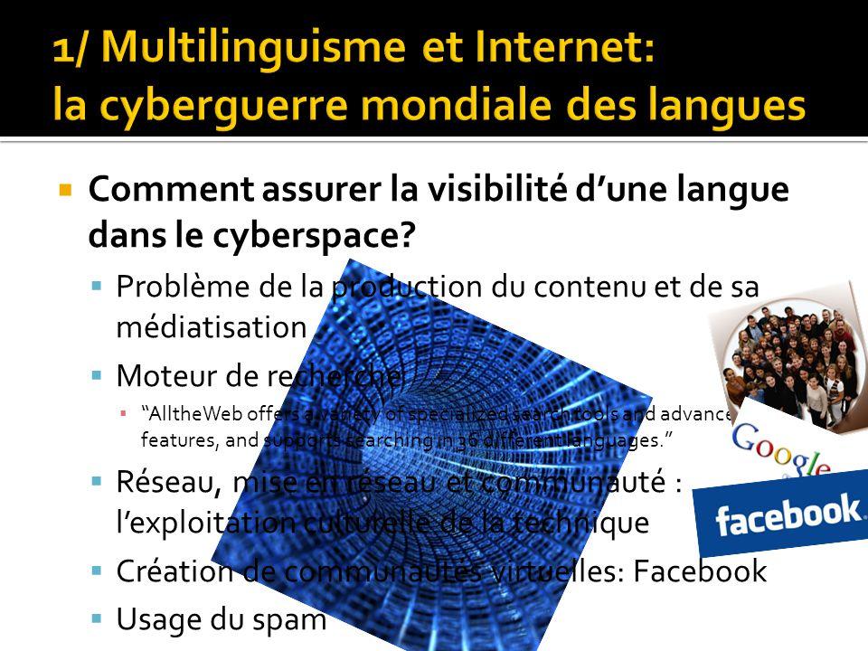  Comment assurer la visibilité d'une langue dans le cyberspace?  Problème de la production du contenu et de sa médiatisation  Moteur de recherche ▪