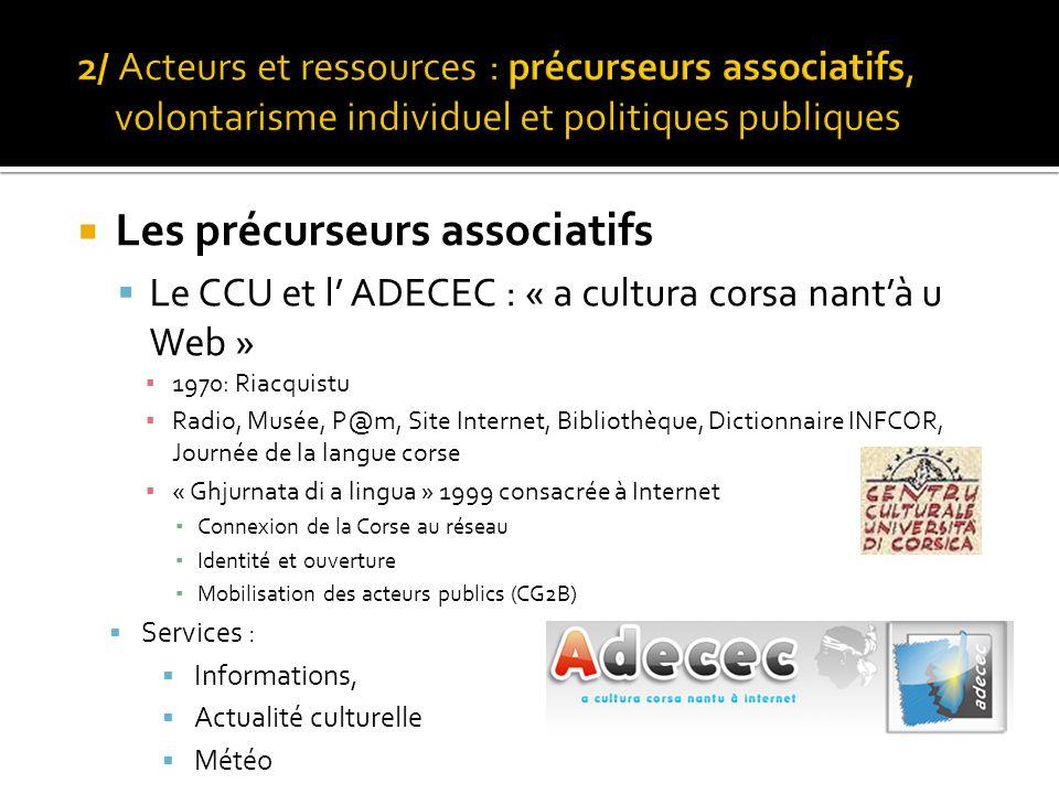  Les précurseurs associatifs  Le CCU et l' ADECEC : « a cultura corsa nant'à u Web » ▪ 1970: Riacquistu ▪ Radio, Musée, P@m, Site Internet, Biblioth