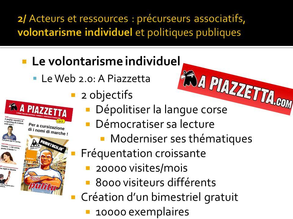 Le volontarisme individuel  Le Web 2.0: A Piazzetta  2 objectifs  Dépolitiser la langue corse  Démocratiser sa lecture  Moderniser ses thématiques  Fréquentation croissante  20000 visites/mois  8000 visiteurs différents  Création d'un bimestriel gratuit  10000 exemplaires