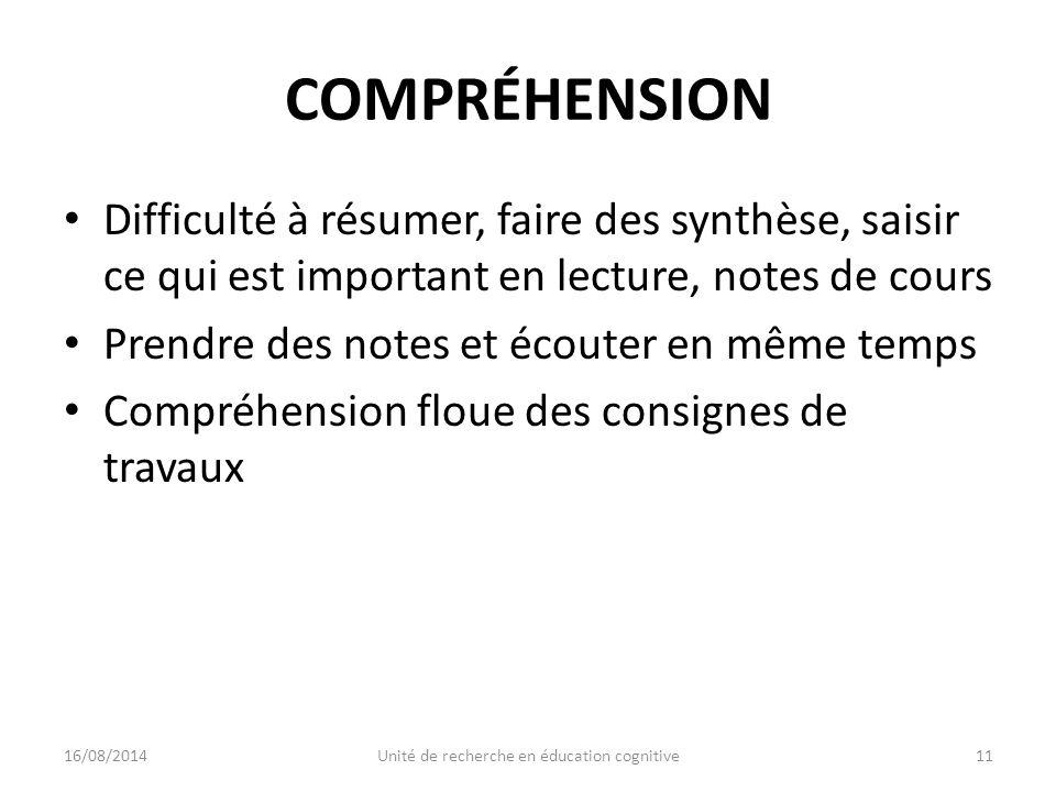 COMPRÉHENSION Difficulté à résumer, faire des synthèse, saisir ce qui est important en lecture, notes de cours Prendre des notes et écouter en même temps Compréhension floue des consignes de travaux 16/08/201411Unité de recherche en éducation cognitive