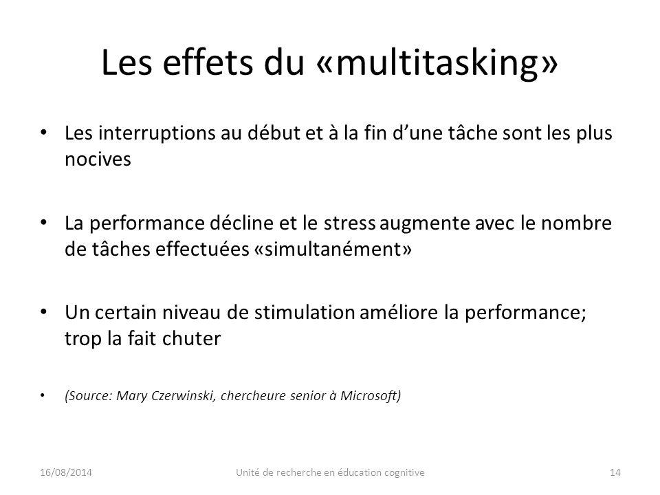 Les effets du «multitasking» Les interruptions au début et à la fin d'une tâche sont les plus nocives La performance décline et le stress augmente avec le nombre de tâches effectuées «simultanément» Un certain niveau de stimulation améliore la performance; trop la fait chuter (Source: Mary Czerwinski, chercheure senior à Microsoft) 16/08/201414Unité de recherche en éducation cognitive