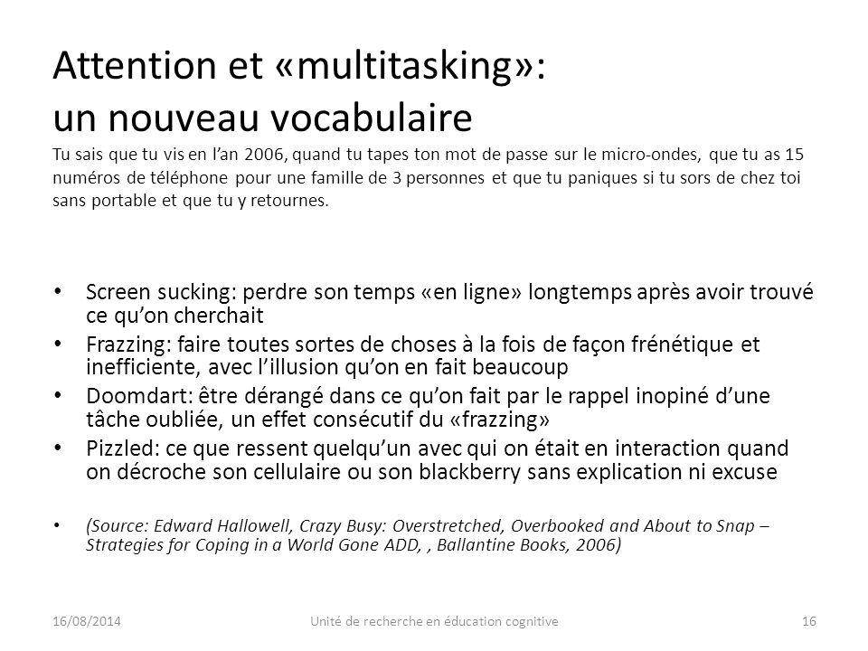 Attention et «multitasking»: un nouveau vocabulaire Tu sais que tu vis en l'an 2006, quand tu tapes ton mot de passe sur le micro-ondes, que tu as 15 numéros de téléphone pour une famille de 3 personnes et que tu paniques si tu sors de chez toi sans portable et que tu y retournes.