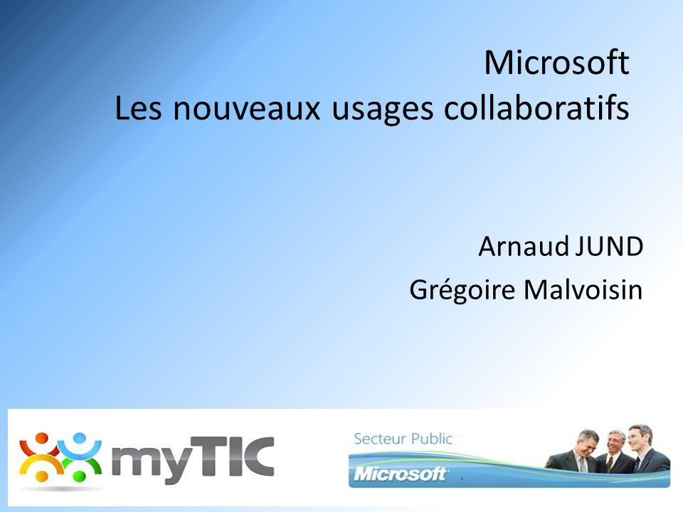 Microsoft Les nouveaux usages collaboratifs Arnaud JUND Grégoire Malvoisin