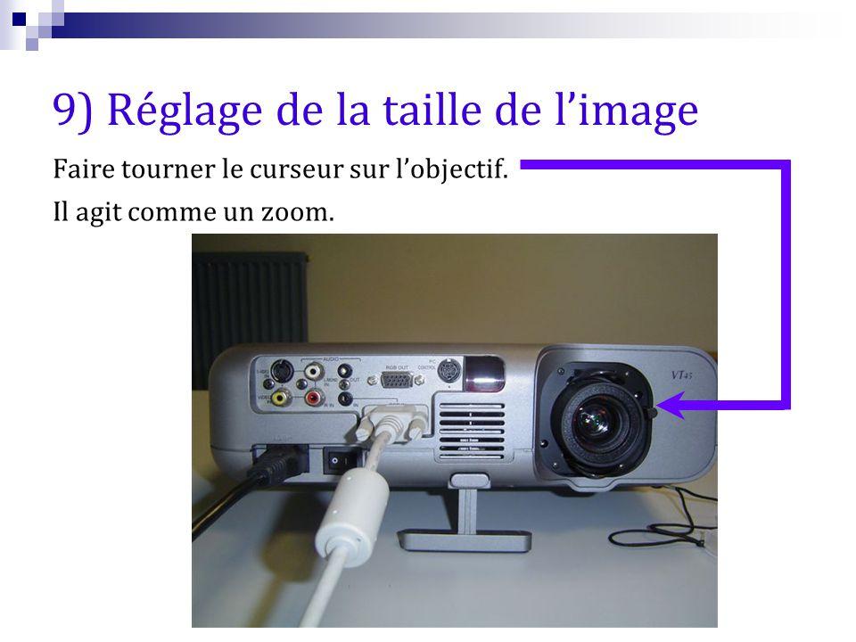 9) Réglage de la taille de l'image Faire tourner le curseur sur l'objectif. Il agit comme un zoom.
