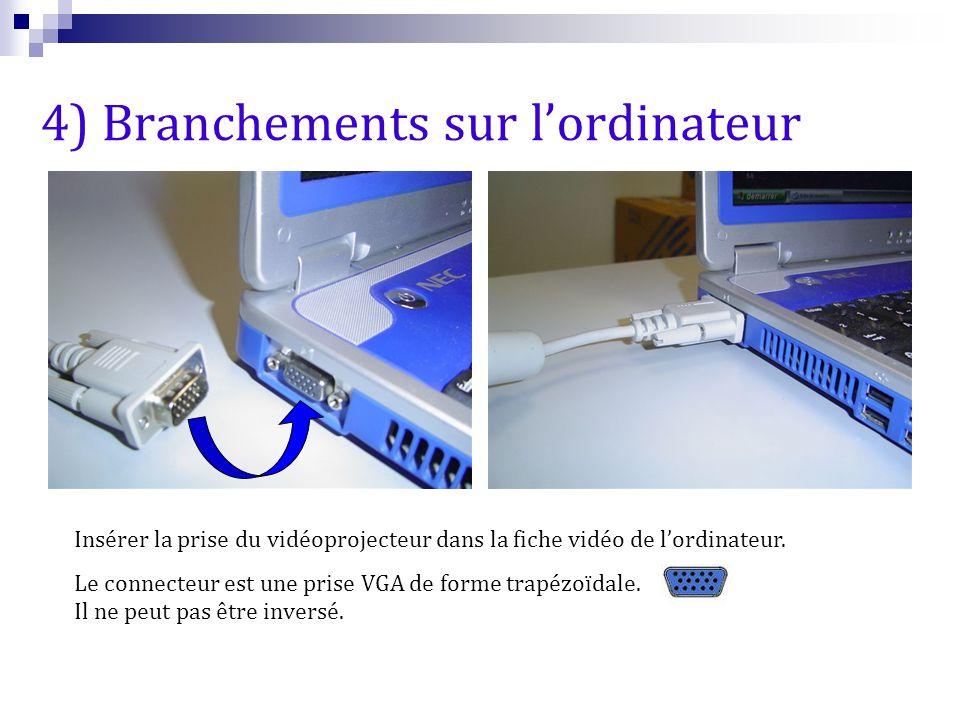 Insérer la prise du vidéoprojecteur dans la fiche vidéo de l'ordinateur. Le connecteur est une prise VGA de forme trapézoïdale. Il ne peut pas être in