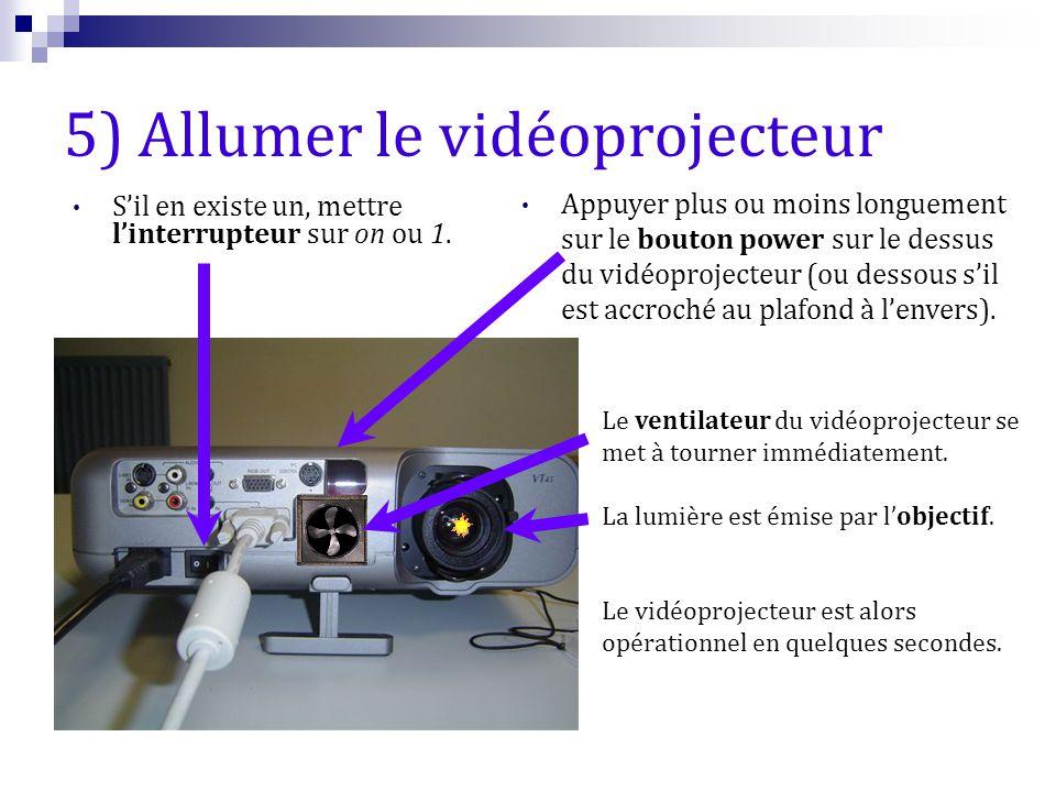 5) Allumer le vidéoprojecteur S'il en existe un, mettre l'interrupteur sur on ou 1. Appuyer plus ou moins longuement sur le bouton power sur le dessus