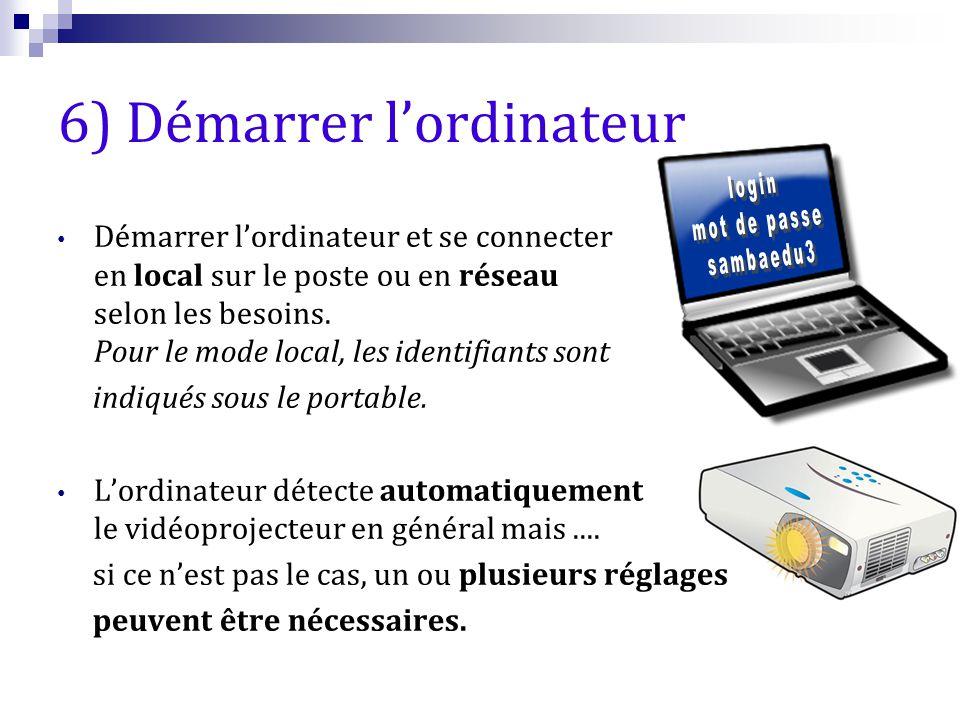 6) Démarrer l'ordinateur Démarrer l'ordinateur et se connecter en local sur le poste ou en réseau selon les besoins. Pour le mode local, les identifia