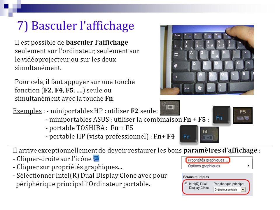 Exemples : - miniportables HP : utiliser F2 seule: - miniportables ASUS : utiliser la combinaison Fn + F5 : - portable TOSHIBA : Fn + F5 - portable HP