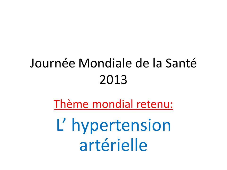 Journée Mondiale de la Santé 2013 Thème mondial retenu: L' hypertension artérielle