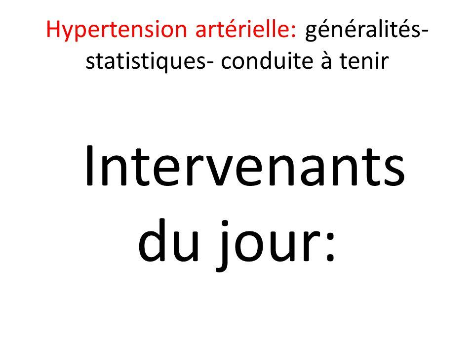 Hypertension artérielle: généralités- statistiques- conduite à tenir Intervenants du jour: