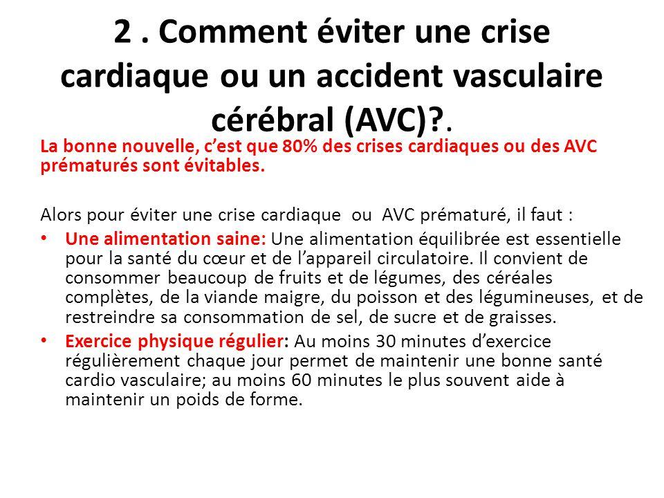 2.Comment éviter une crise cardiaque ou un accident vasculaire cérébral (AVC)?.