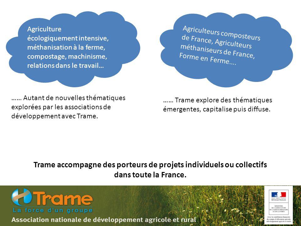 Agriculture écologiquement intensive, méthanisation à la ferme, compostage, machinisme, relations dans le travail… …… Autant de nouvelles thématiques explorées par les associations de développement avec Trame.
