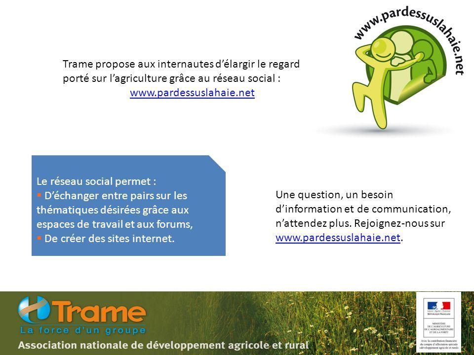 Trame propose aux internautes d'élargir le regard porté sur l'agriculture grâce au réseau social : www.pardessuslahaie.net Une question, un besoin d'information et de communication, n'attendez plus.