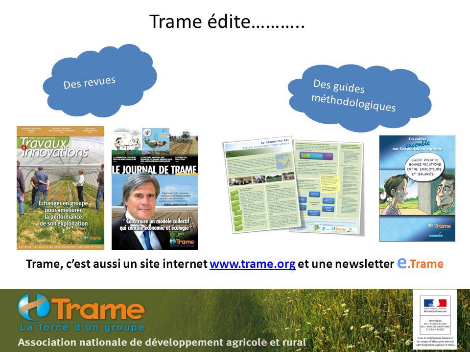 Des revues Des guides méthodologiques Trame, c'est aussi un site internet www.trame.org et une newsletter e.Tramewww.trame.org Trame édite………..