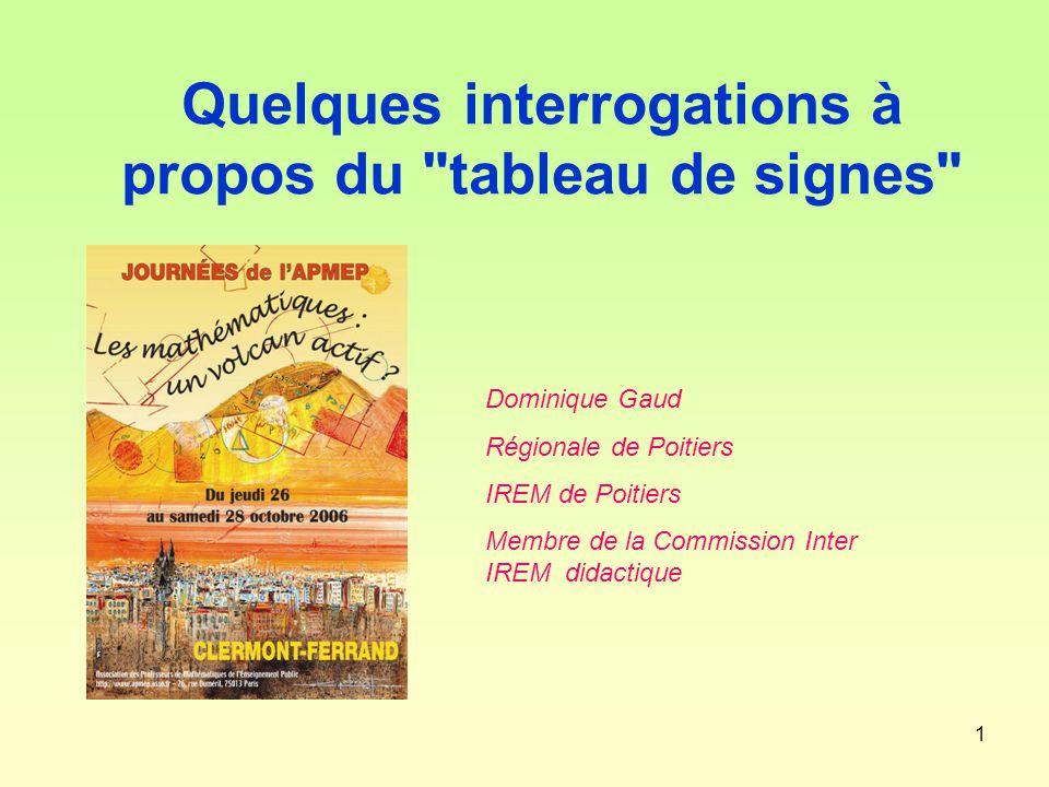 1 Quelques interrogations à propos du tableau de signes Dominique Gaud Régionale de Poitiers IREM de Poitiers Membre de la Commission Inter IREM didactique