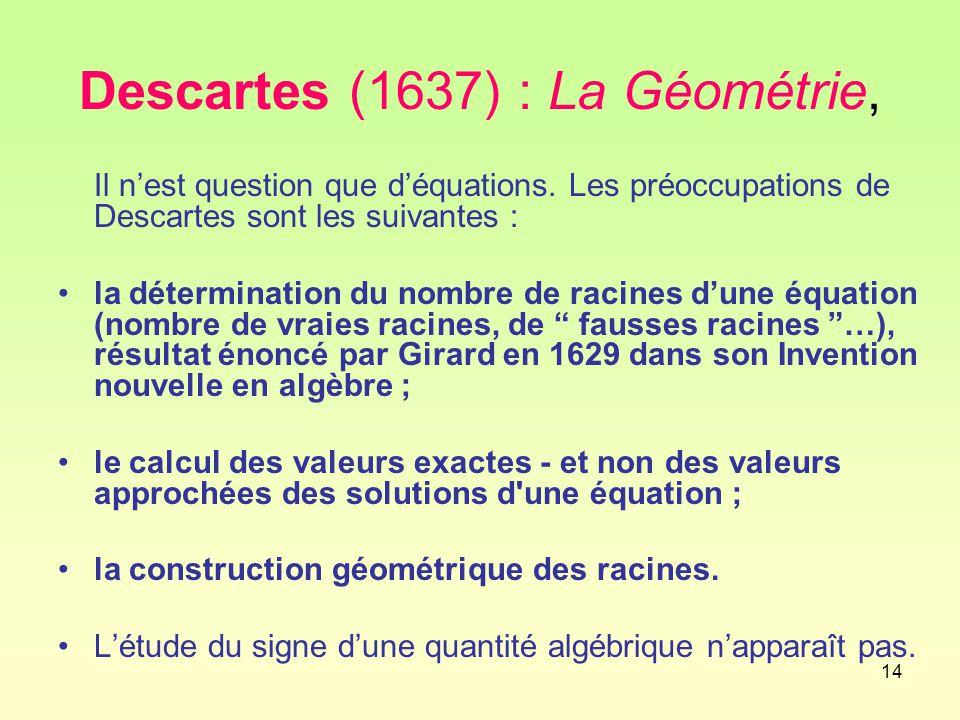 14 Descartes (1637) : La Géométrie, Il n'est question que d'équations.