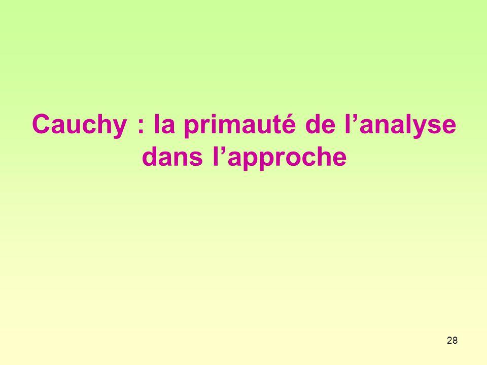 28 Cauchy : la primauté de l'analyse dans l'approche
