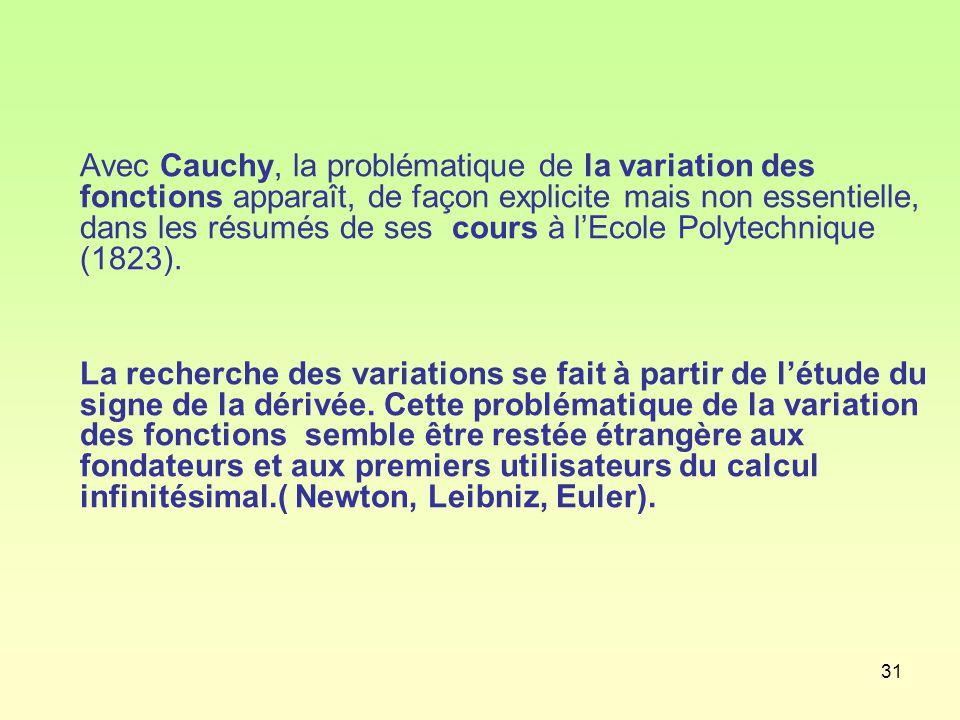 31 Avec Cauchy, la problématique de la variation des fonctions apparaît, de façon explicite mais non essentielle, dans les résumés de ses cours à l'Ecole Polytechnique (1823).