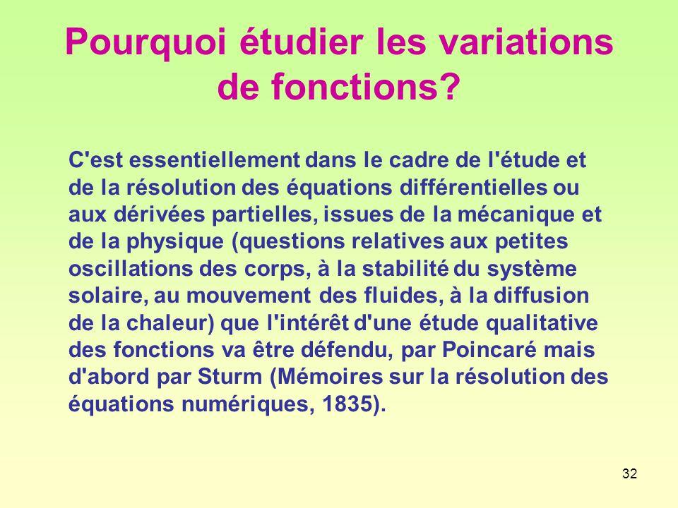 32 Pourquoi étudier les variations de fonctions.
