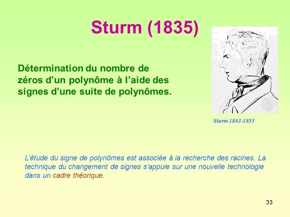 33 Sturm (1835) Détermination du nombre de zéros d'un polynôme à l'aide des signes d'une suite de polynômes.