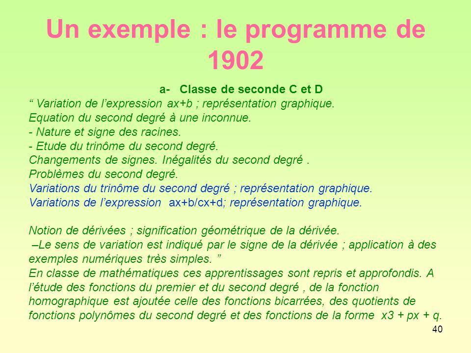 40 Un exemple : le programme de 1902 a- Classe de seconde C et D Variation de l'expression ax+b ; représentation graphique.