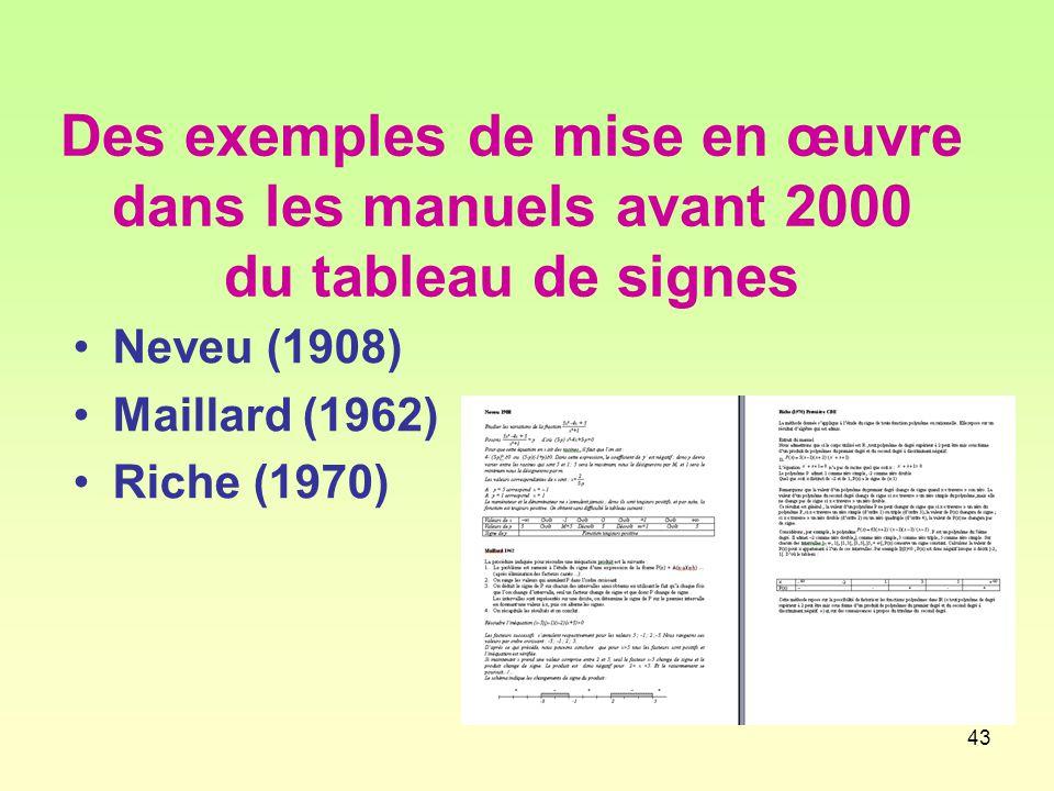 43 Des exemples de mise en œuvre dans les manuels avant 2000 du tableau de signes Neveu (1908) Maillard (1962) Riche (1970)