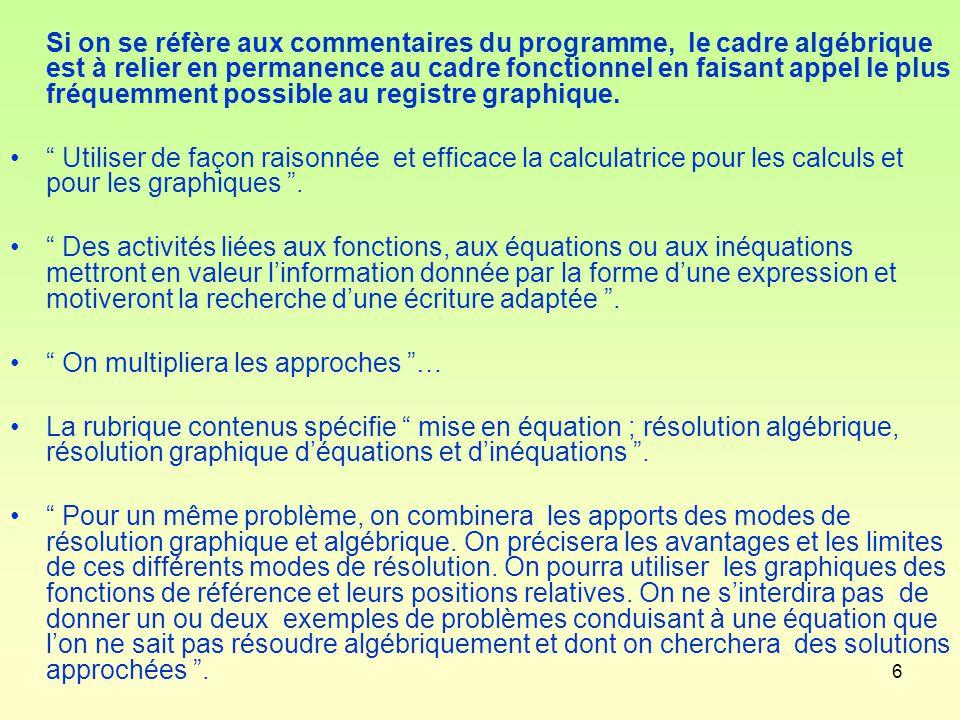 6 Si on se réfère aux commentaires du programme, le cadre algébrique est à relier en permanence au cadre fonctionnel en faisant appel le plus fréquemment possible au registre graphique.