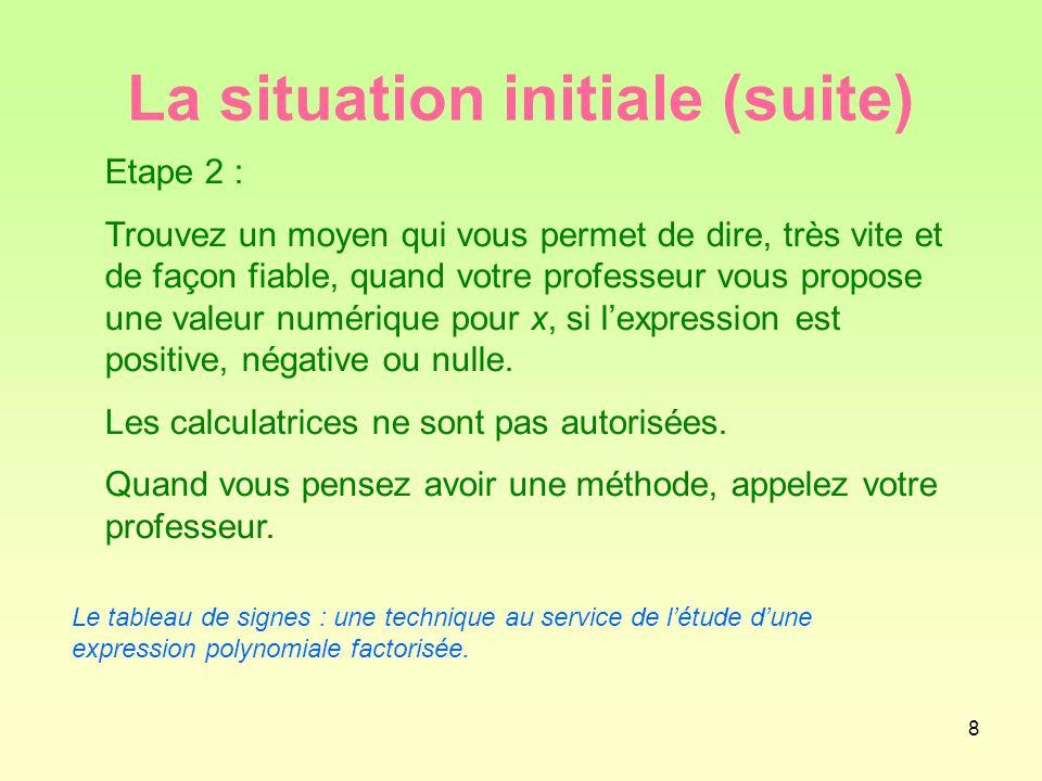 8 La situation initiale (suite) Etape 2 : Trouvez un moyen qui vous permet de dire, très vite et de façon fiable, quand votre professeur vous propose une valeur numérique pour x, si l'expression est positive, négative ou nulle.