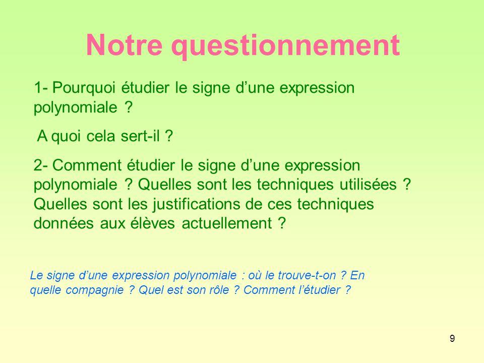 9 Notre questionnement 1- Pourquoi étudier le signe d'une expression polynomiale .