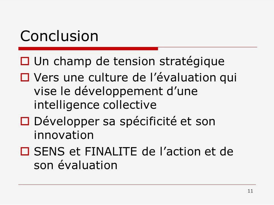 Conclusion  Un champ de tension stratégique  Vers une culture de l'évaluation qui vise le développement d'une intelligence collective  Développer s