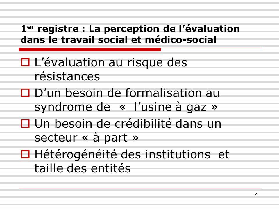 1 er registre : La perception de l'évaluation dans le travail social et médico-social  L'évaluation au risque des résistances  D'un besoin de formal