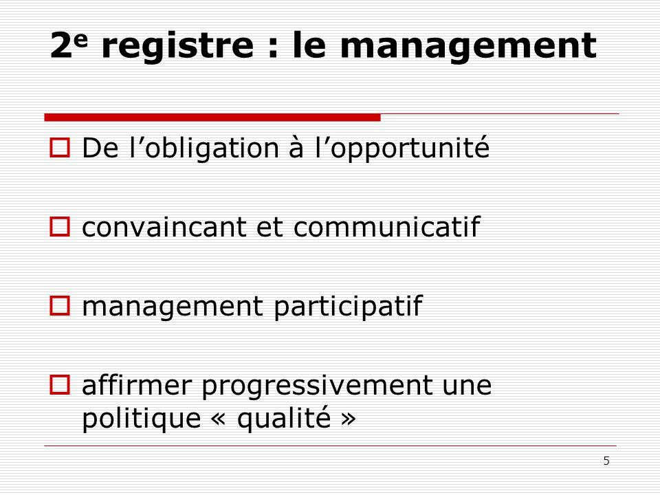 2 e registre : le management  De l'obligation à l'opportunité  convaincant et communicatif  management participatif  affirmer progressivement une