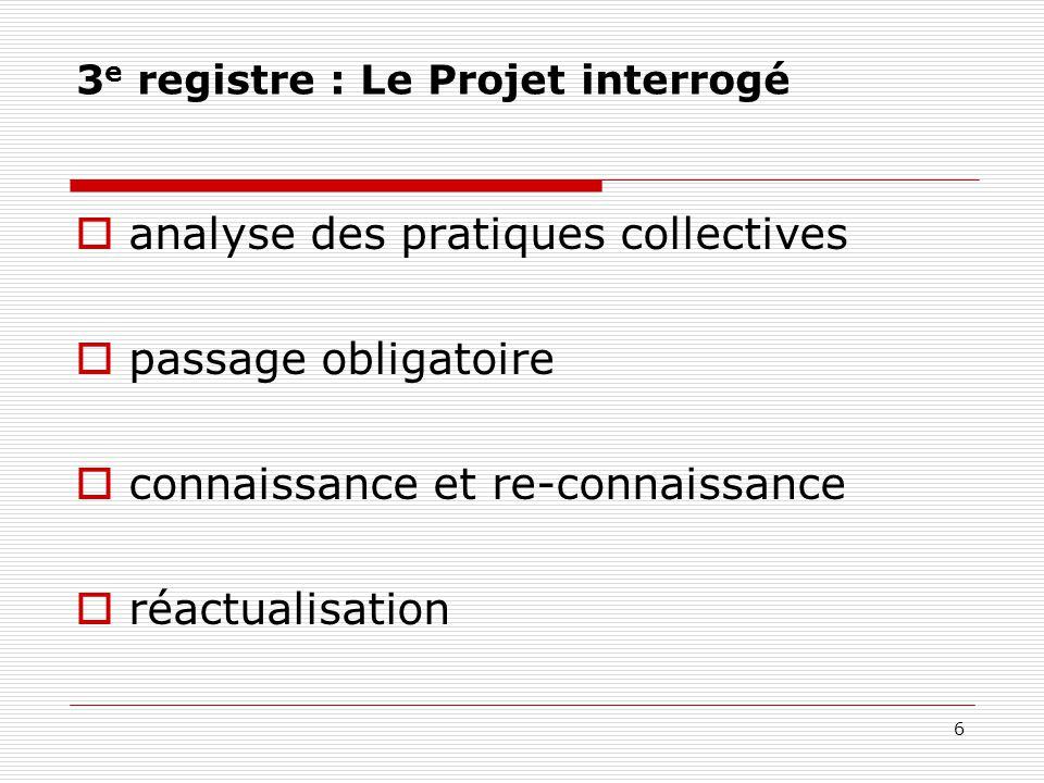 3 e registre : Le Projet interrogé  analyse des pratiques collectives  passage obligatoire  connaissance et re-connaissance  réactualisation 6