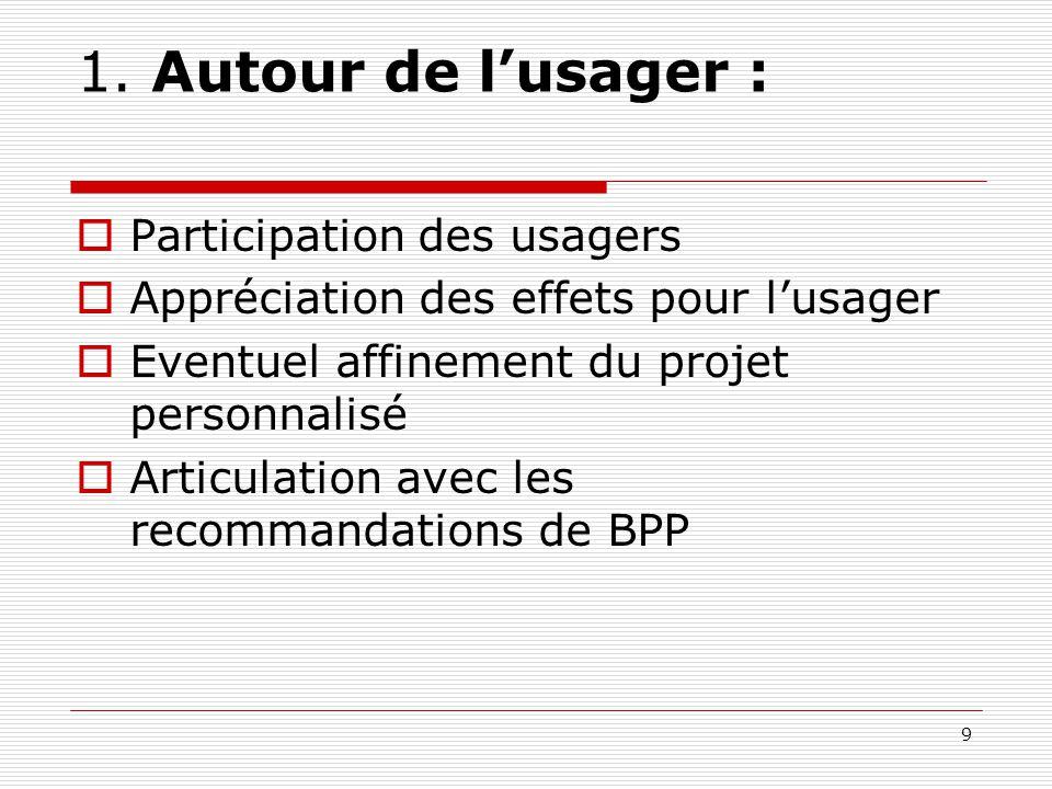 1. Autour de l'usager :  Participation des usagers  Appréciation des effets pour l'usager  Eventuel affinement du projet personnalisé  Articulatio