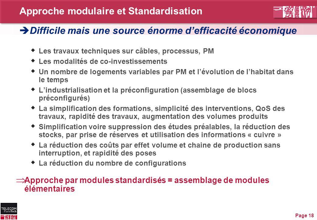 Approche modulaire et Standardisation Page 18  Les travaux techniques sur câbles, processus, PM  Les modalités de co-investissements  Un nombre de