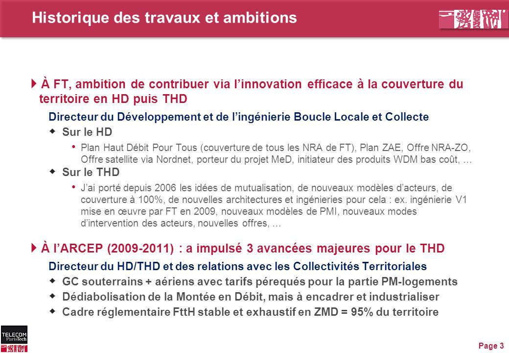 Historique des travaux et ambitions  À FT, ambition de contribuer via l'innovation efficace à la couverture du territoire en HD puis THD Directeur du
