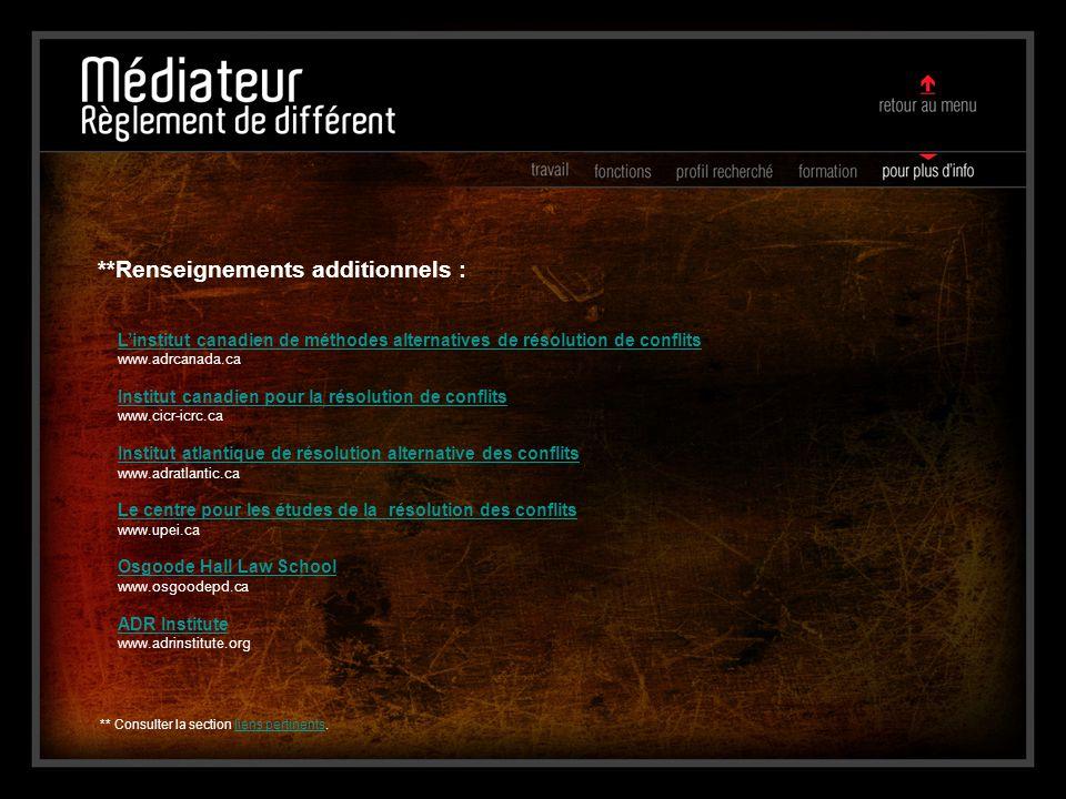L'institut canadien de méthodes alternatives de résolution de conflits www.adrcanada.ca Institut canadien pour la résolution de conflits www.cicr-icrc
