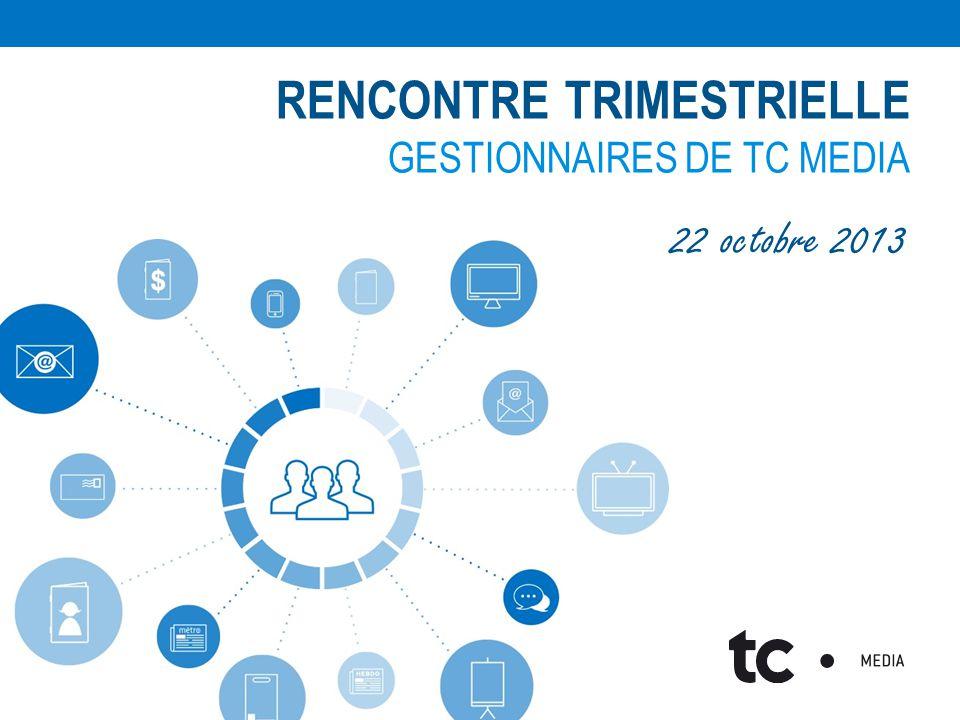 RENCONTRE TRIMESTRIELLE GESTIONNAIRES DE TC MEDIA 22 octobre 2013