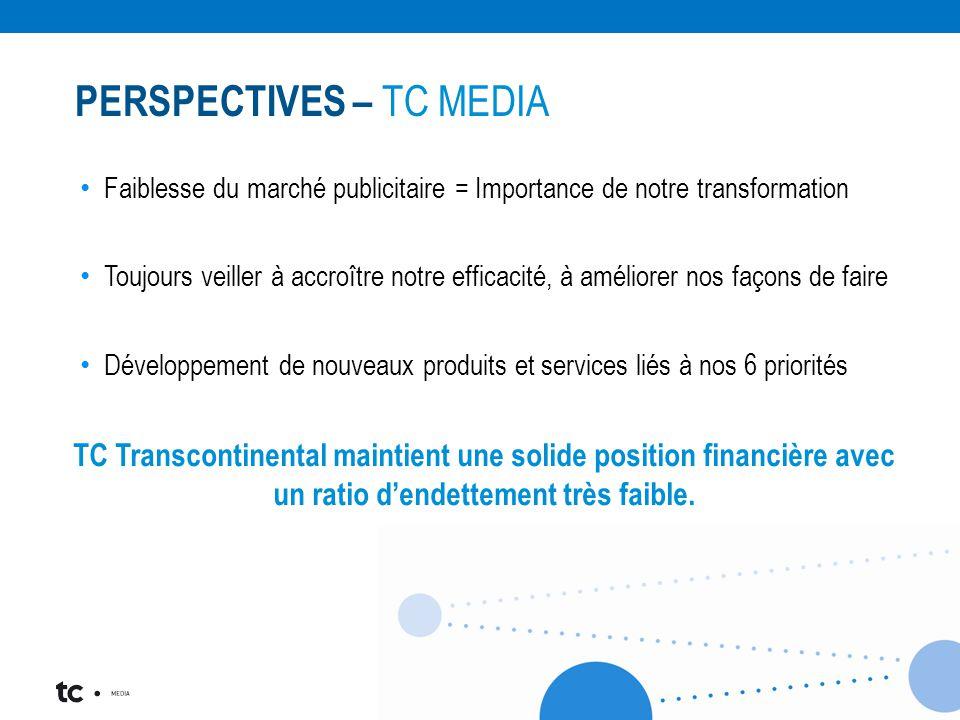 Faiblesse du marché publicitaire = Importance de notre transformation Toujours veiller à accroître notre efficacité, à améliorer nos façons de faire Développement de nouveaux produits et services liés à nos 6 priorités TC Transcontinental maintient une solide position financière avec un ratio d'endettement très faible.