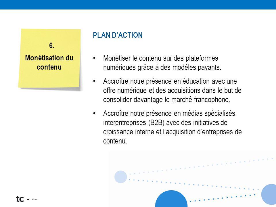 Six priorités stratégiques – Six comités de travail Monétisation du contenu 6. PLAN D'ACTION Monétiser le contenu sur des plateformes numériques grâce
