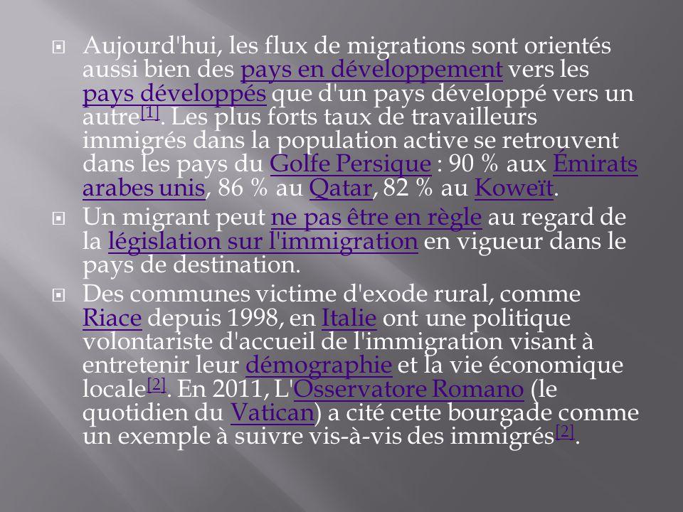  Aujourd hui, les flux de migrations sont orientés aussi bien des pays en développement vers les pays développés que d un pays développé vers un autre [1].