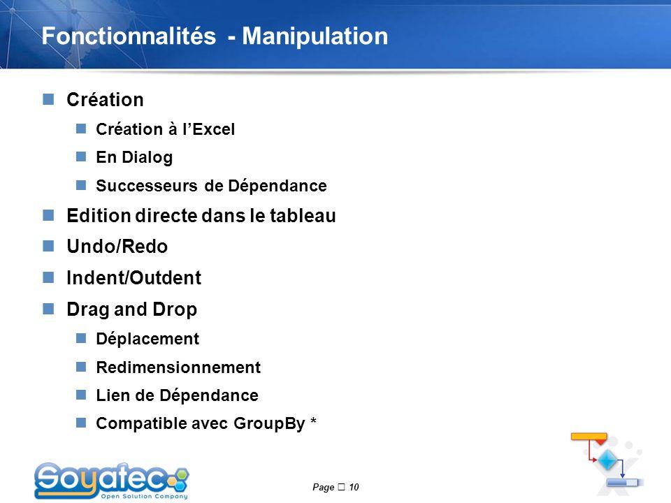 Page  10 Fonctionnalités - Manipulation Création Création à l'Excel En Dialog Successeurs de Dépendance Edition directe dans le tableau Undo/Redo Ind