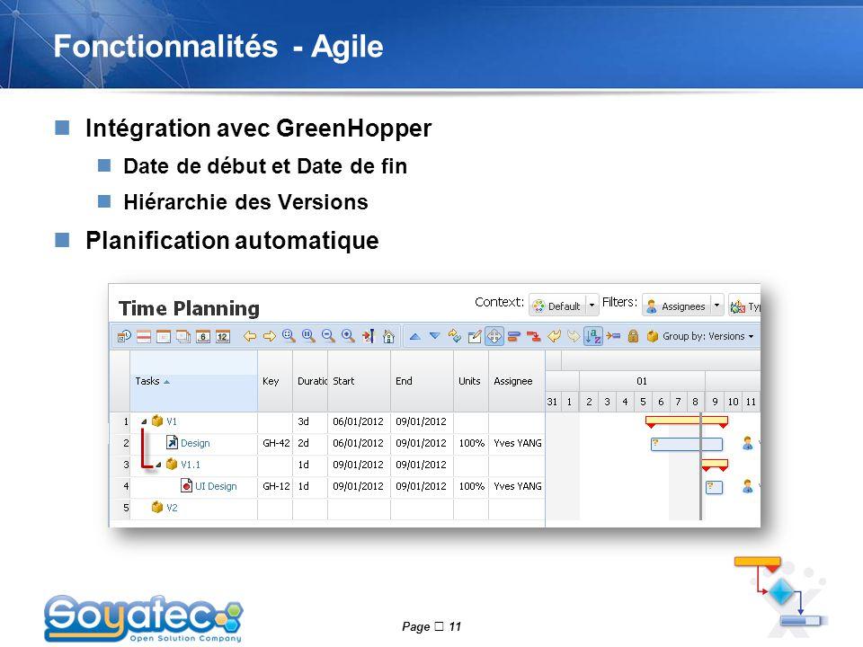 Page  11 Fonctionnalités - Agile Intégration avec GreenHopper Date de début et Date de fin Hiérarchie des Versions Planification automatique
