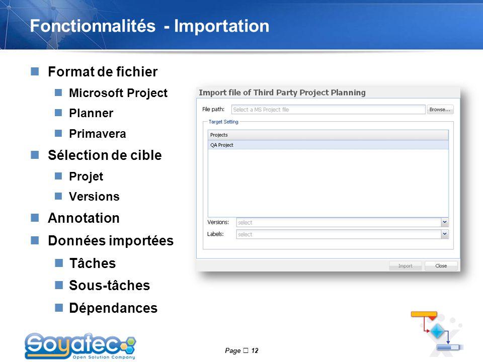 Page  12 Fonctionnalités - Importation Format de fichier Microsoft Project Planner Primavera Sélection de cible Projet Versions Annotation Données im