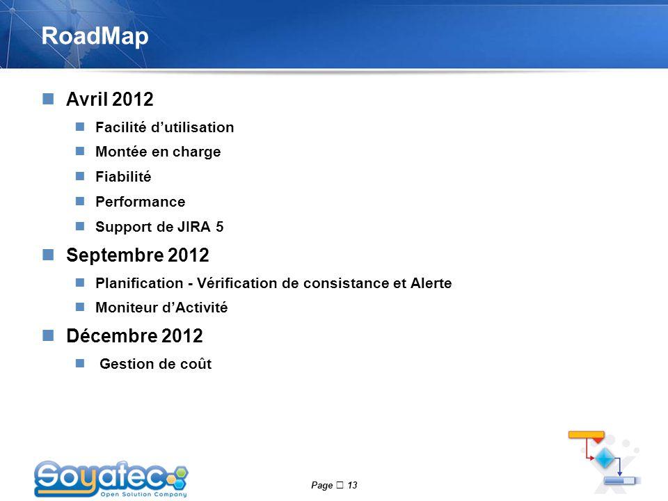 Page  13 RoadMap Avril 2012 Facilité d'utilisation Montée en charge Fiabilité Performance Support de JIRA 5 Septembre 2012 Planification - Vérificati