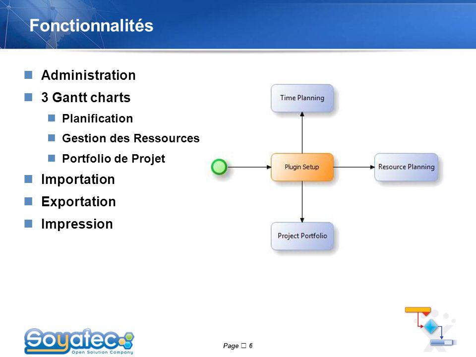 Page  6 Fonctionnalités Administration 3 Gantt charts Planification Gestion des Ressources Portfolio de Projet Importation Exportation Impression